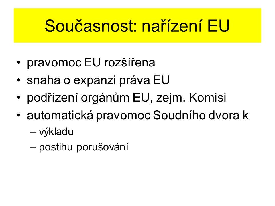 Současnost: nařízení EU pravomoc EU rozšířena snaha o expanzi práva EU podřízení orgánům EU, zejm.