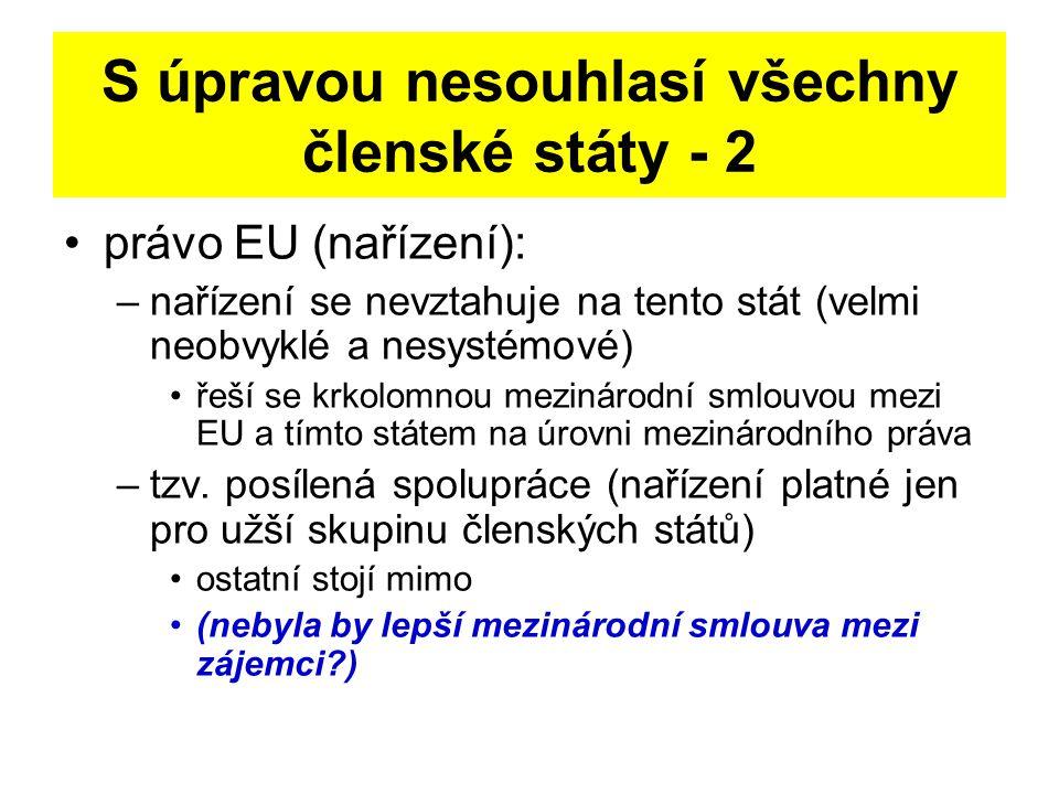 S úpravou nesouhlasí všechny členské státy - 2 právo EU (nařízení): –nařízení se nevztahuje na tento stát (velmi neobvyklé a nesystémové) řeší se krkolomnou mezinárodní smlouvou mezi EU a tímto státem na úrovni mezinárodního práva –tzv.