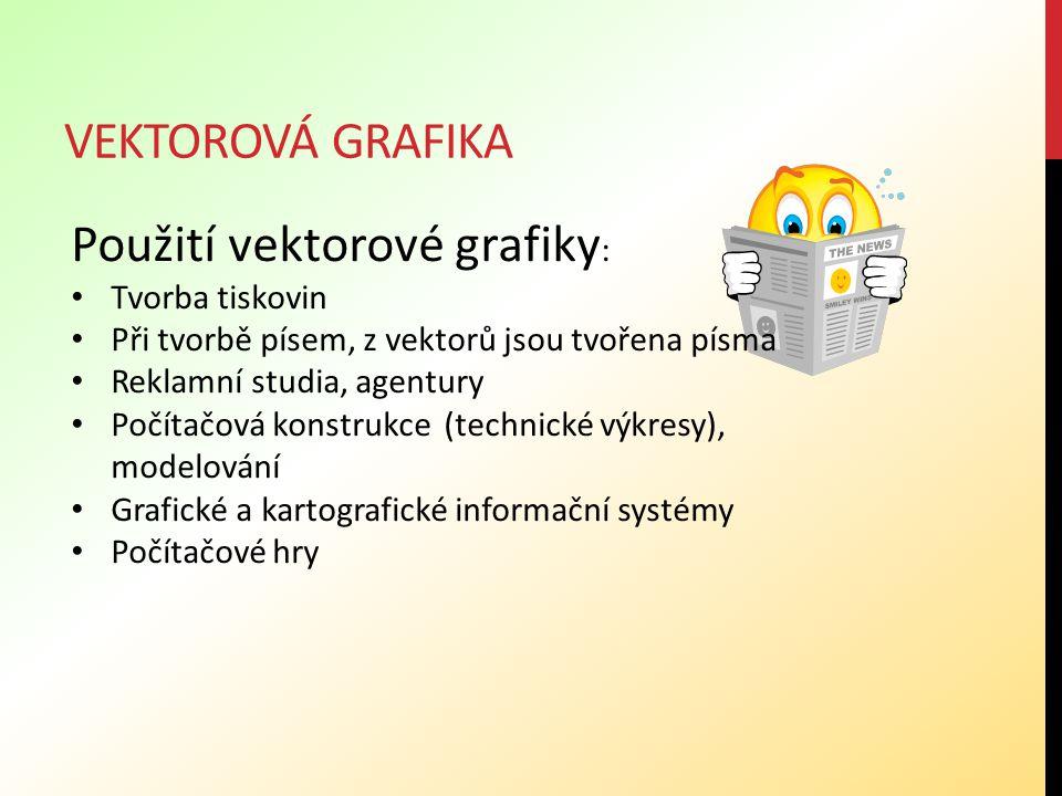 VEKTOROVÁ GRAFIKA Použití vektorové grafiky : Tvorba tiskovin Při tvorbě písem, z vektorů jsou tvořena písma Reklamní studia, agentury Počítačová kons