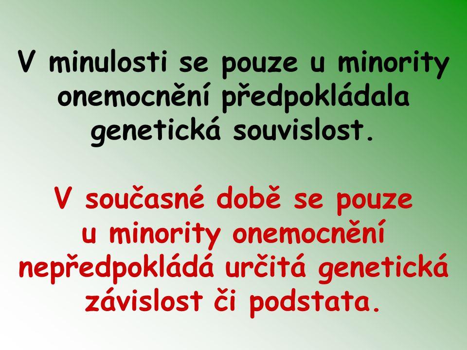 V minulosti se pouze u minority onemocnění předpokládala genetická souvislost. V současné době se pouze u minority onemocnění nepředpokládá určitá gen