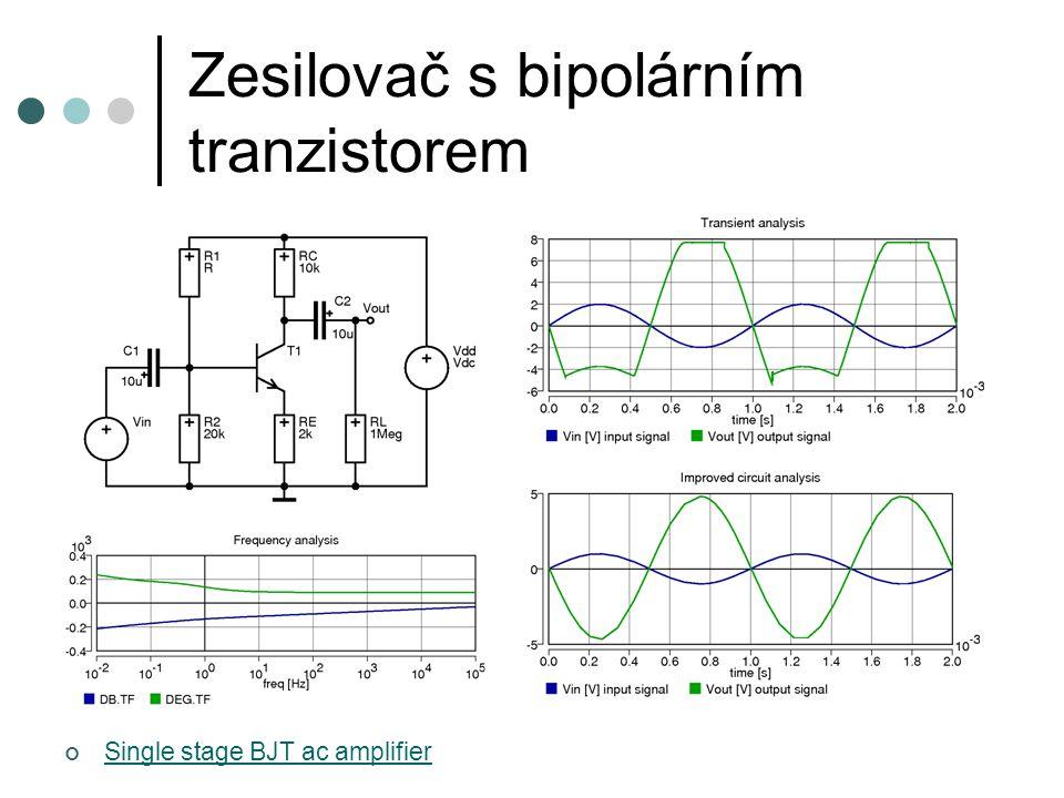 Zesilovač s bipolárním tranzistorem Single stage BJT ac amplifier