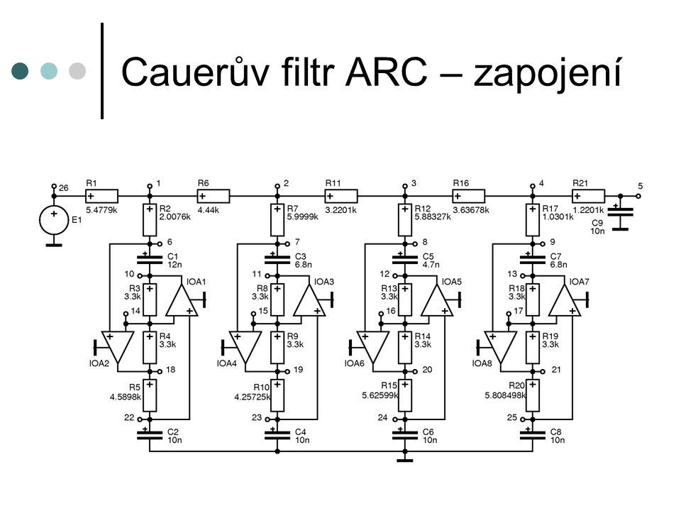 Cauerův filtr ARC – zapojení