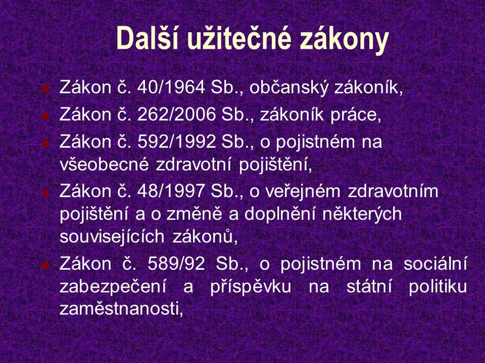 Další užitečné zákony Zákon č. 40/1964 Sb., občanský zákoník, Zákon č.