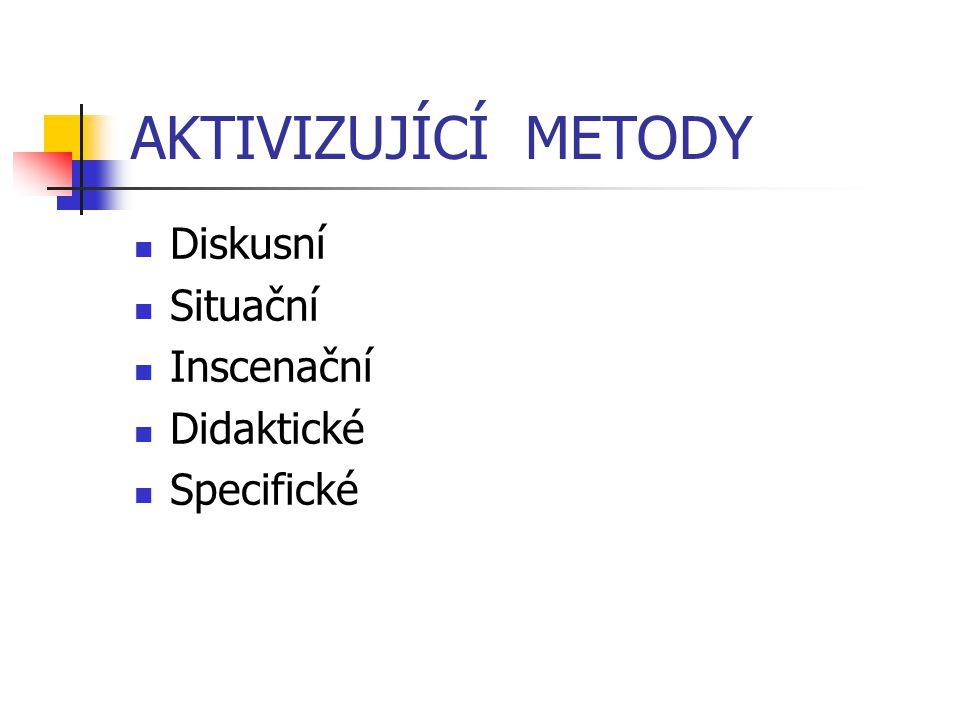 AKTIVIZUJÍCÍ METODY Diskusní Situační Inscenační Didaktické Specifické