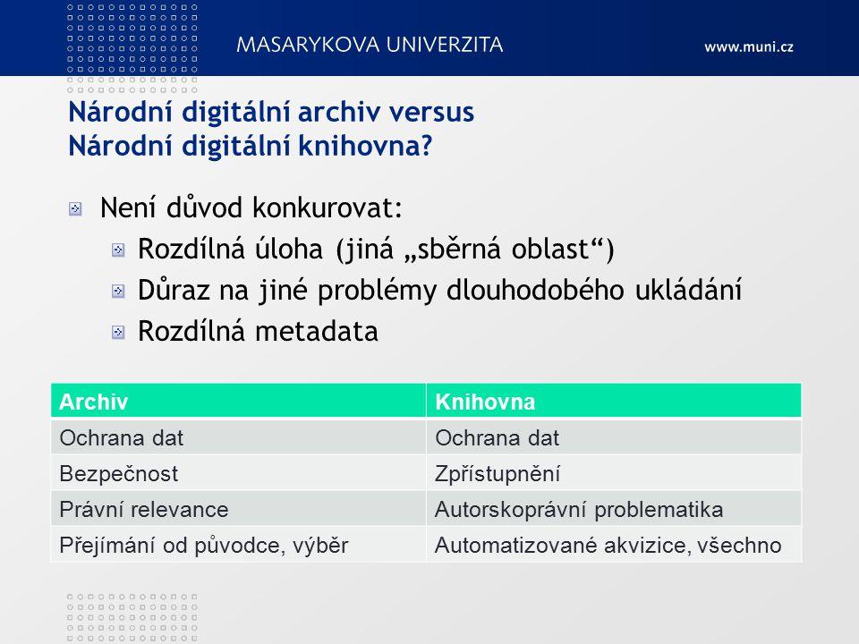 Národní digitální archiv versus Národní digitální knihovna.