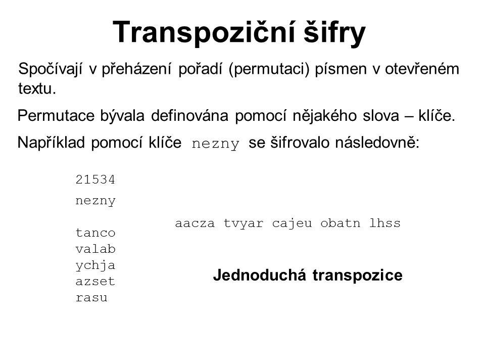 Transpoziční šifry Spočívají v přeházení pořadí (permutaci) písmen v otevřeném textu. Permutace bývala definována pomocí nějakého slova – klíče. Napří