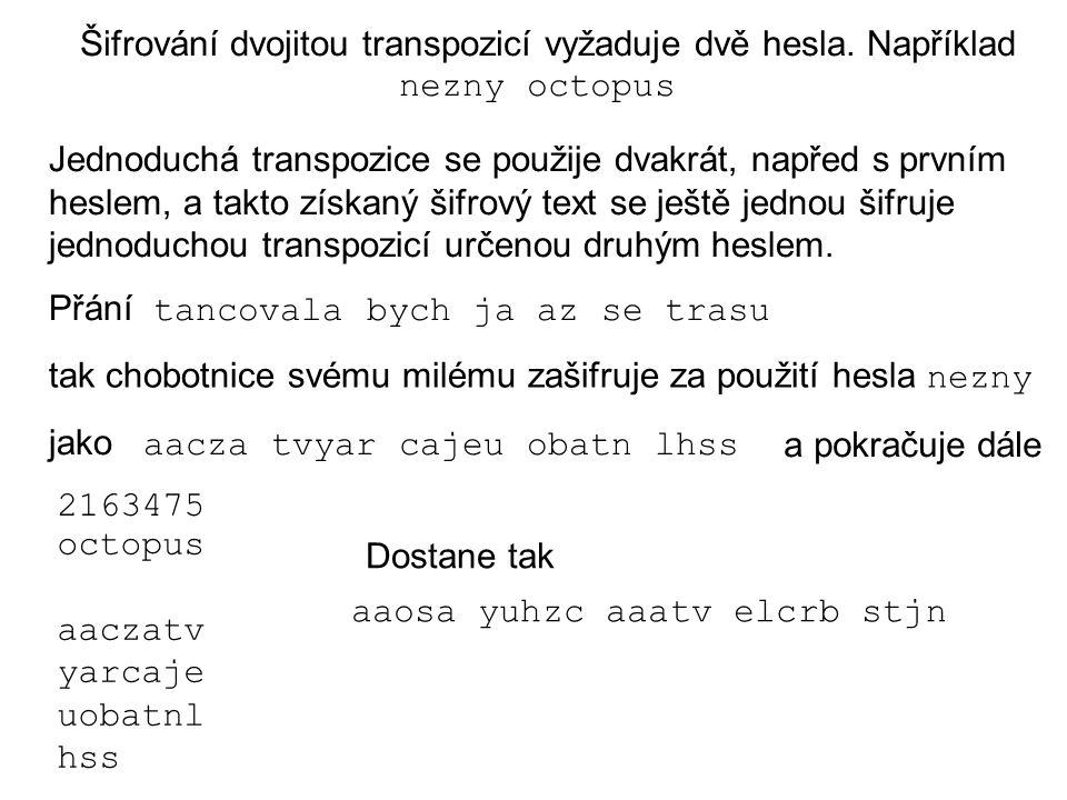 Šifrování dvojitou transpozicí vyžaduje dvě hesla. Například nezny octopus Jednoduchá transpozice se použije dvakrát, napřed s prvním heslem, a takto
