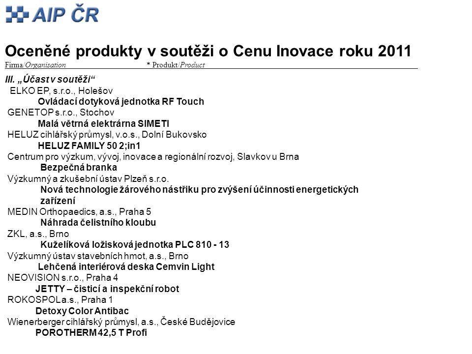 Oceněné produkty v soutěži o Cenu Inovace roku 2011 Firma/Organisation* Produkt/Product_________ III.