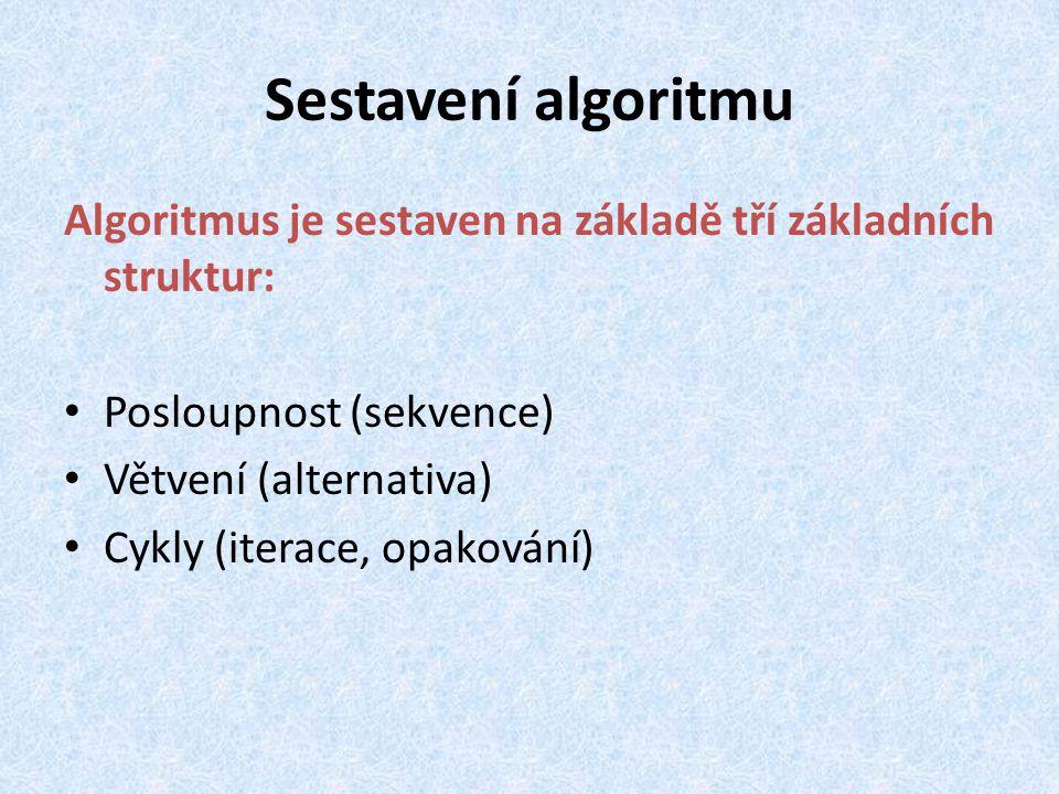Sestavení algoritmu Algoritmus je sestaven na základě tří základních struktur: Posloupnost (sekvence) Větvení (alternativa) Cykly (iterace, opakování)