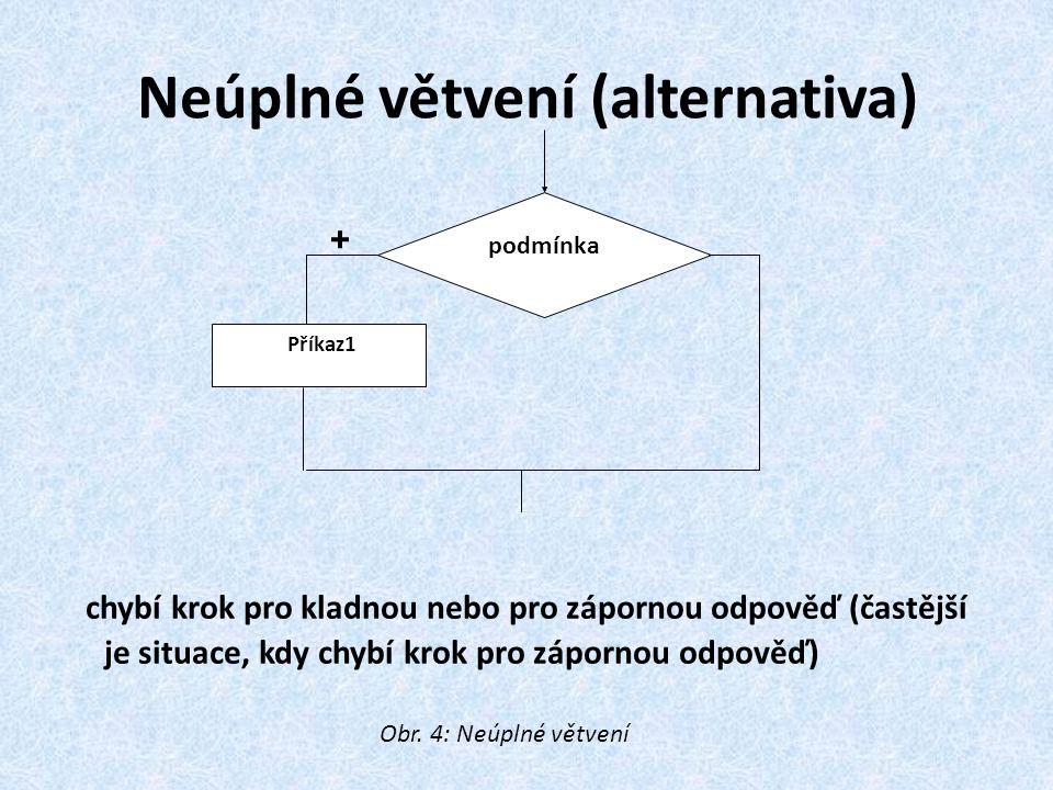 Neúplné větvení (alternativa) chybí krok pro kladnou nebo pro zápornou odpověď (častější je situace, kdy chybí krok pro zápornou odpověď) podmínka Pří