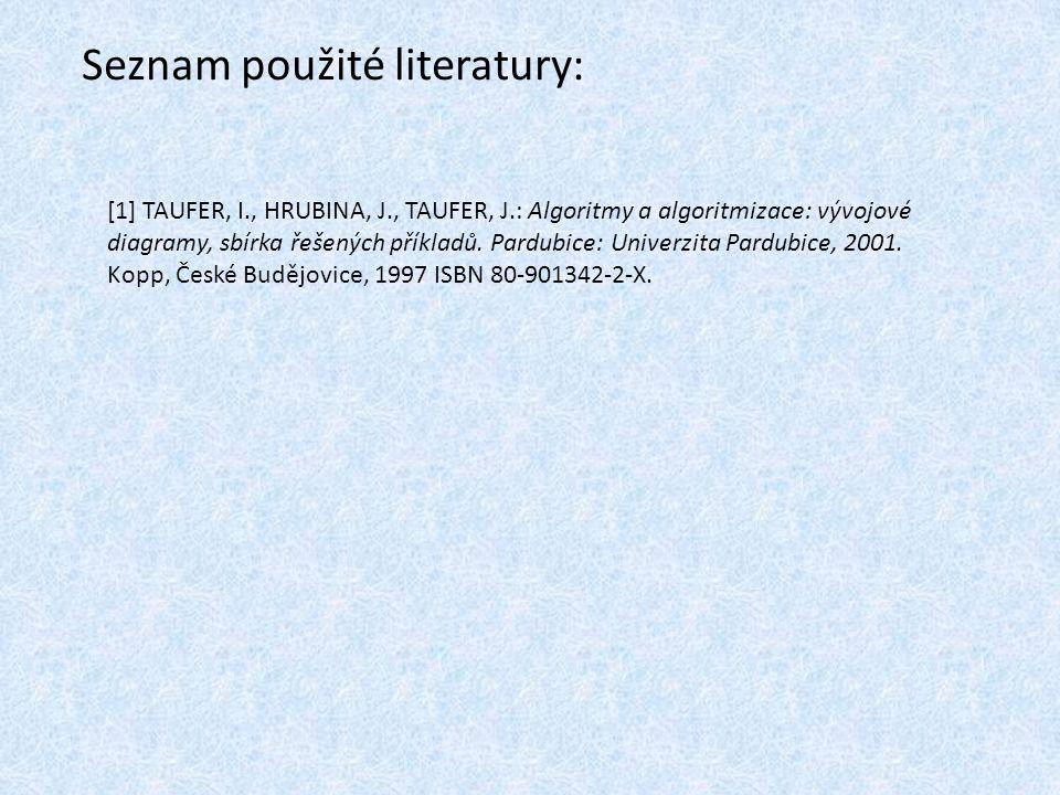 Seznam použité literatury: [1] TAUFER, I., HRUBINA, J., TAUFER, J.: Algoritmy a algoritmizace: vývojové diagramy, sbírka řešených příkladů. Pardubice: