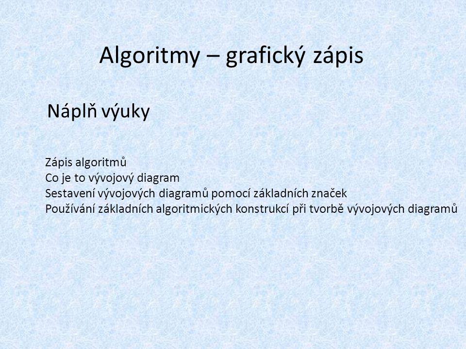 Algoritmy – grafický zápis Náplň výuky Zápis algoritmů Co je to vývojový diagram Sestavení vývojových diagramů pomocí základních značek Používání zákl