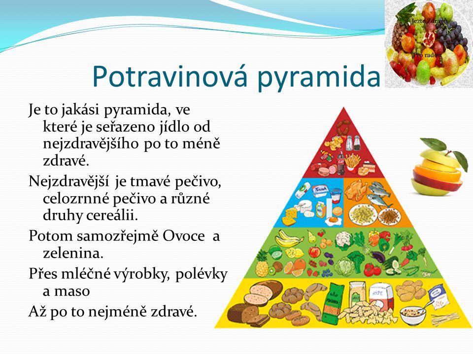 Potravinová pyramida Je to jakási pyramida, ve které je seřazeno jídlo od nejzdravějšího po to méně zdravé. Nejzdravější je tmavé pečivo, celozrnné pe