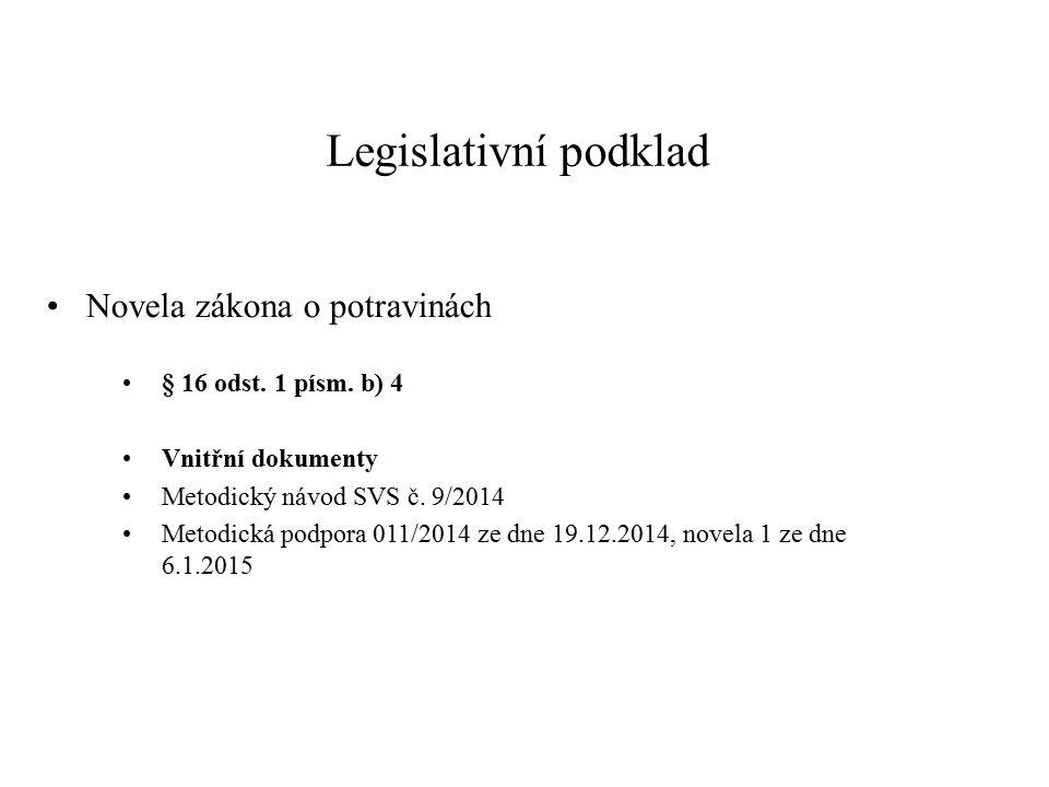 Legislativní podklad Novela zákona o potravinách § 16 odst. 1 písm. b) 4 Vnitřní dokumenty Metodický návod SVS č. 9/2014 Metodická podpora 011/2014 ze