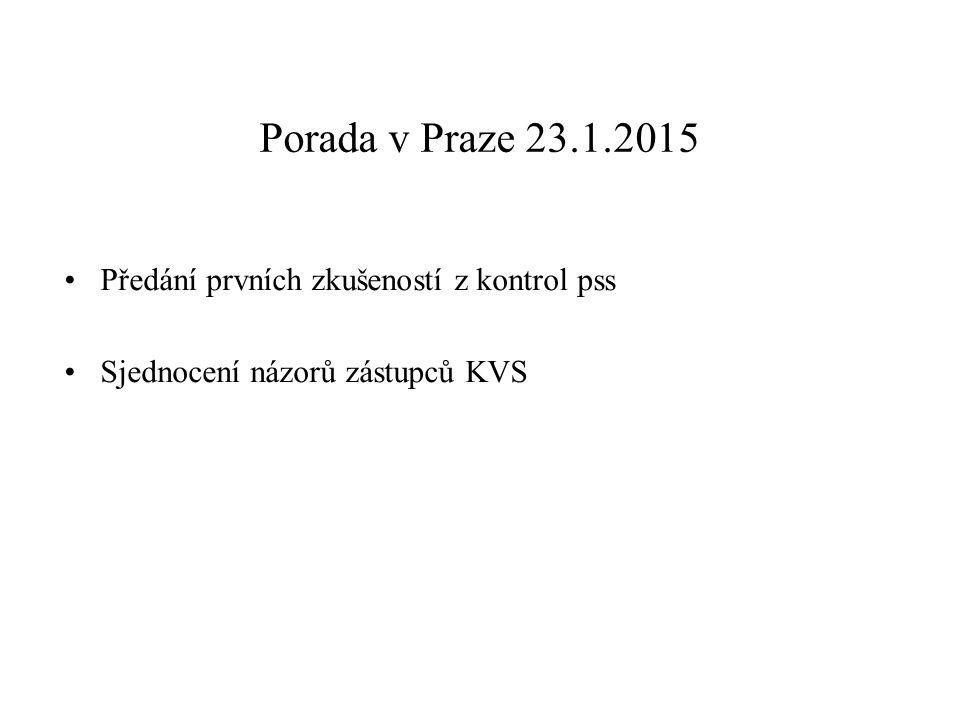 Porada v Praze 23.1.2015 Předání prvních zkušeností z kontrol pss Sjednocení názorů zástupců KVS