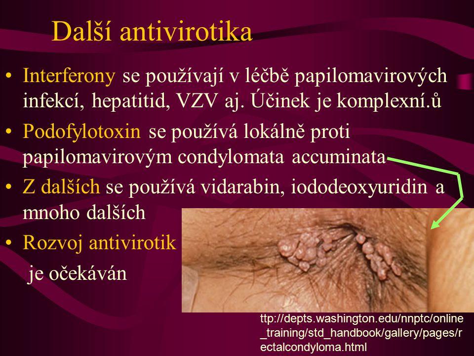 Další antivirotika Interferony se používají v léčbě papilomavirových infekcí, hepatitid, VZV aj. Účinek je komplexní.ů Podofylotoxin se používá lokáln