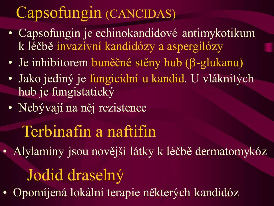 Capsofungin (CANCIDAS) Capsofungin je echinokandidové antimykotikum k.léčbě invazivní kandidózy a aspergilózy Je inhibitorem buněčné stěny hub (  -gl