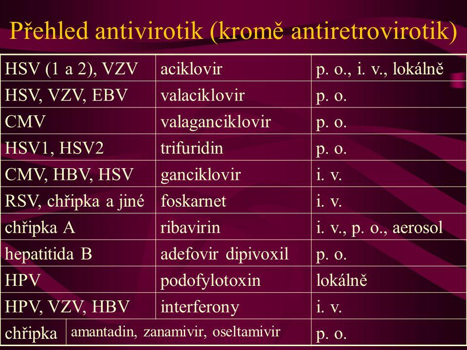 Přehled antivirotik (kromě antiretrovirotik) HSV (1 a 2), VZVaciklovirp. o., i. v., lokálně HSV, VZV, EBVvalaciklovirp. o. CMVvalaganciklovirp. o. HSV