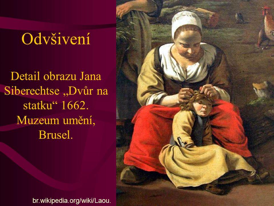 """Odvšivení Detail obrazu Jana Siberechtse """"Dvůr na statku"""" 1662. Muzeum umění, Brusel. br.wikipedia.org/wiki/Laou."""