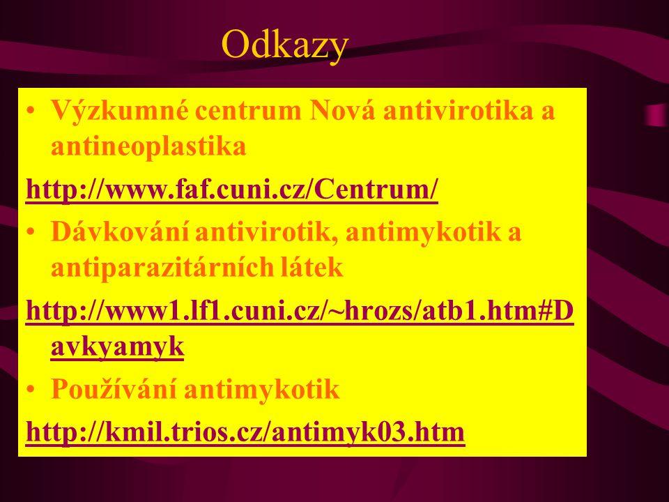 Odkazy Výzkumné centrum Nová antivirotika a antineoplastika http://www.faf.cuni.cz/Centrum/ Dávkování antivirotik, antimykotik a antiparazitárních lát