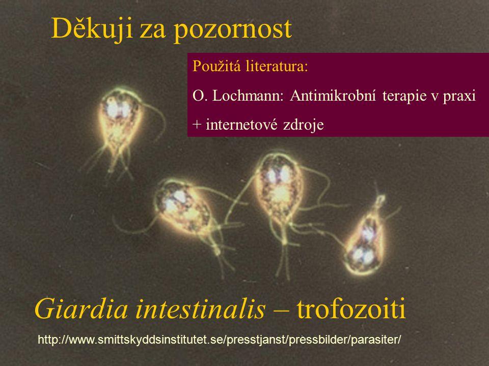 Giardia intestinalis – trofozoiti http://www.smittskyddsinstitutet.se/presstjanst/pressbilder/parasiter/ Použitá literatura: O. Lochmann: Antimikrobní