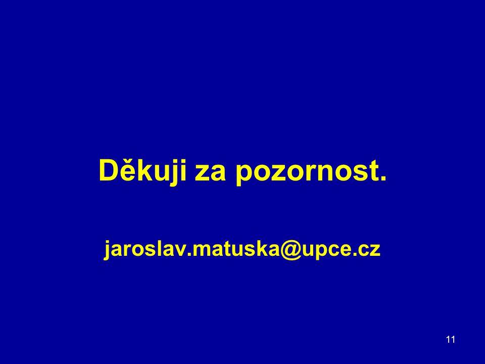 Děkuji za pozornost. jaroslav.matuska@upce.cz 11