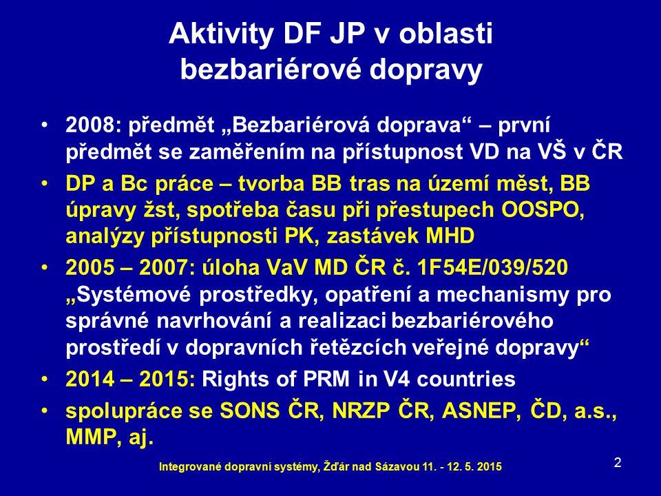 """Aktivity DF JP v oblasti bezbariérové dopravy 2008: předmět """"Bezbariérová doprava"""" – první předmět se zaměřením na přístupnost VD na VŠ v ČR DP a Bc p"""
