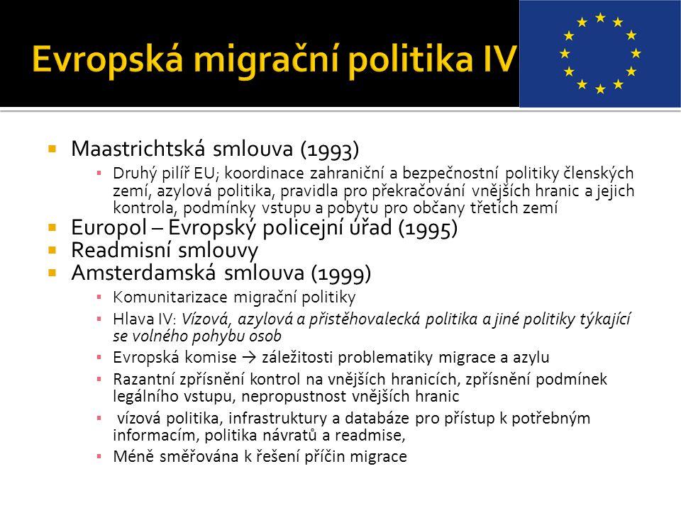  Maastrichtská smlouva (1993) ▪ Druhý pilíř EU; koordinace zahraniční a bezpečnostní politiky členských zemí, azylová politika, pravidla pro překračo