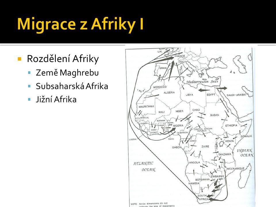  Rozdělení Afriky  Země Maghrebu  Subsaharská Afrika  Jižní Afrika