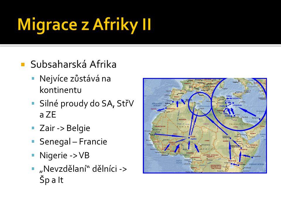 """ Subsaharská Afrika  Nejvíce zůstává na kontinentu  Silné proudy do SA, StřV a ZE  Zair -> Belgie  Senegal – Francie  Nigerie -> VB  """"Nevzdělan"""