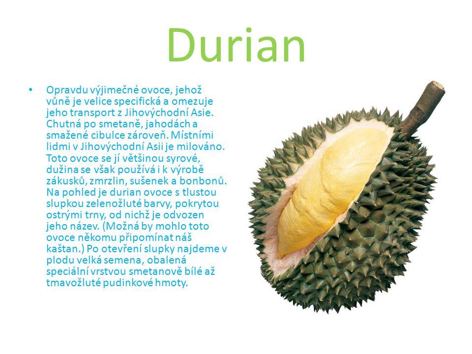 Durian Opravdu výjimečné ovoce, jehož vůně je velice specifická a omezuje jeho transport z Jihovýchodní Asie.