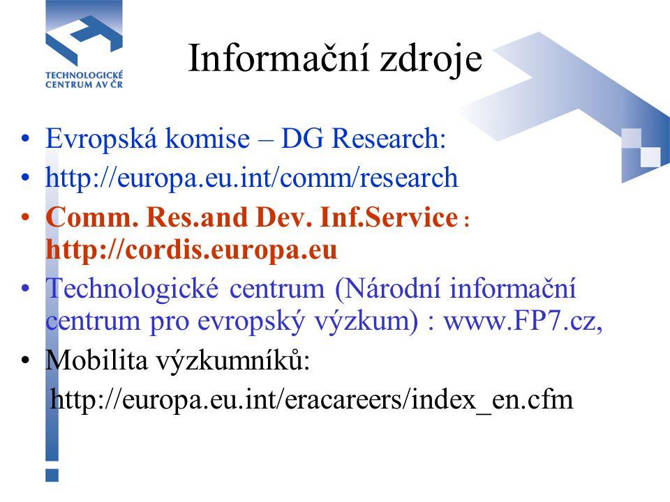 Informační zdroje Evropská komise – DG Research: http://europa.eu.int/comm/research Comm. Res.and Dev. Inf.Service : http://cordis.europa.eu Technolog