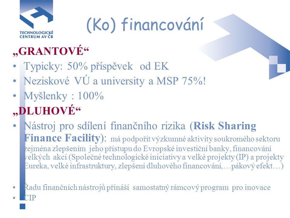 """(Ko) financování """"GRANTOVÉ"""" Typicky: 50% příspěvek od EK Neziskové VÚ a university a MSP 75%! Myšlenky : 100% """"DLUHOVÉ"""" Nástroj pro sdílení finančního"""