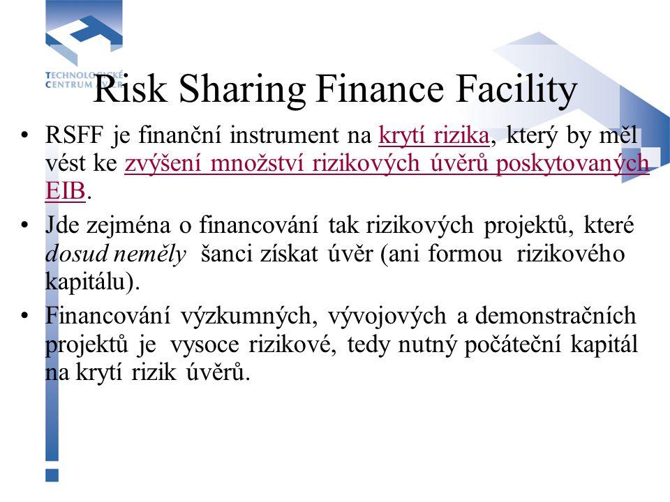Risk Sharing Finance Facility RSFF je finanční instrument na krytí rizika, který by měl vést ke zvýšení množství rizikových úvěrů poskytovaných EIB. J