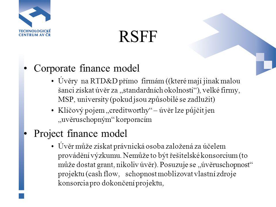 """RSFF Corporate finance model Úvěry na RTD&D přímo firmám ((které mají jinak malou šanci získat úvěr za """"standardních okolností""""), velké firmy, MSP, un"""