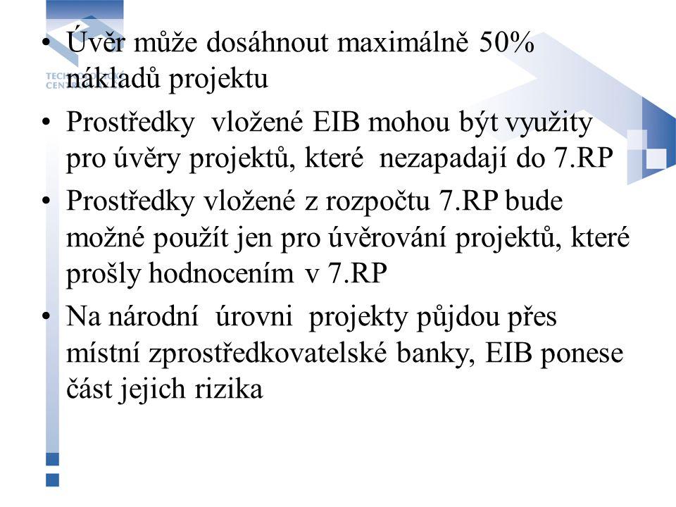 Úvěr může dosáhnout maximálně 50% nákladů projektu Prostředky vložené EIB mohou být využity pro úvěry projektů, které nezapadají do 7.RP Prostředky vl