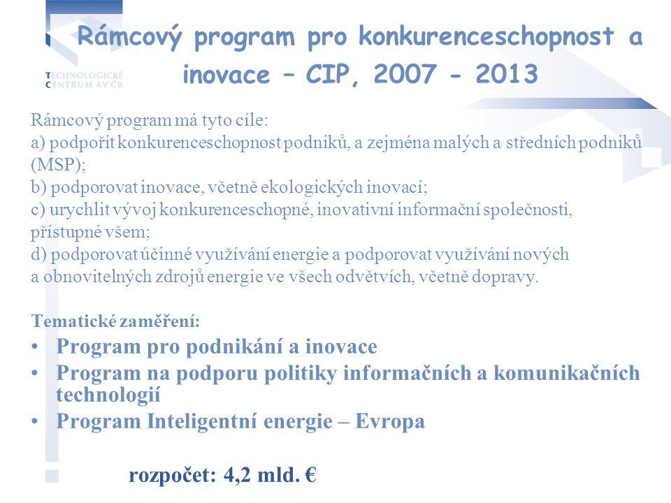 Rámcový program pro konkurenceschopnost a inovace – CIP, 2007 - 2013 Rámcový program má tyto cíle: a) podpořit konkurenceschopnost podniků, a zejména