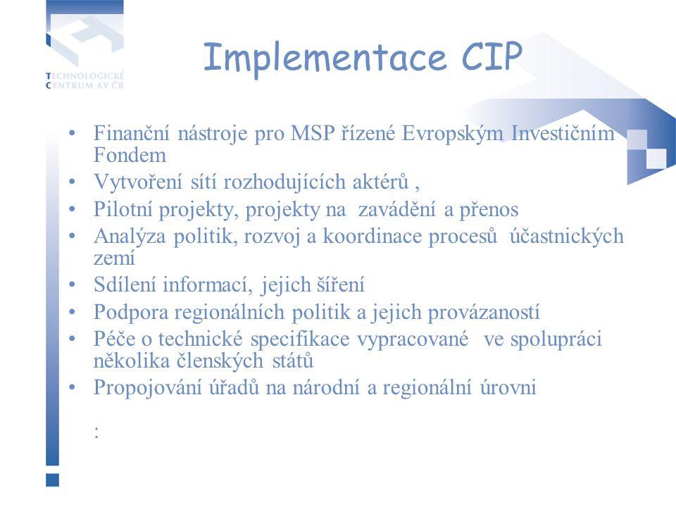 Implementace CIP Finanční nástroje pro MSP řízené Evropským Investičním Fondem Vytvoření sítí rozhodujících aktérů, Pilotní projekty, projekty na zavá