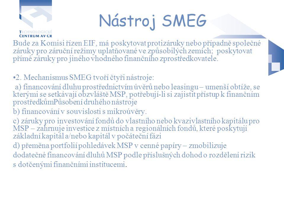 Nástroj SMEG Bude za Komisi řízen EIF, má poskytovat protizáruky nebo případně společné záruky pro záruční režimy uplatňované ve způsobilých zemích; p