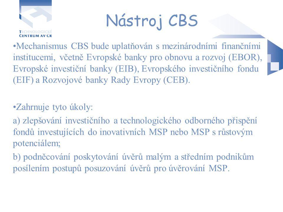 Nástroj CBS Mechanismus CBS bude uplatňován s mezinárodními finančními institucemi, včetně Evropské banky pro obnovu a rozvoj (EBOR), Evropské investi
