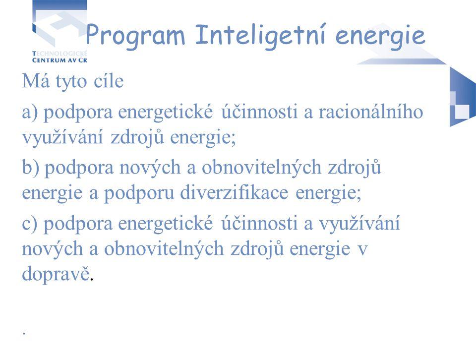 Program Inteligetní energie Má tyto cíle a) podpora energetické účinnosti a racionálního využívání zdrojů energie; b) podpora nových a obnovitelných z