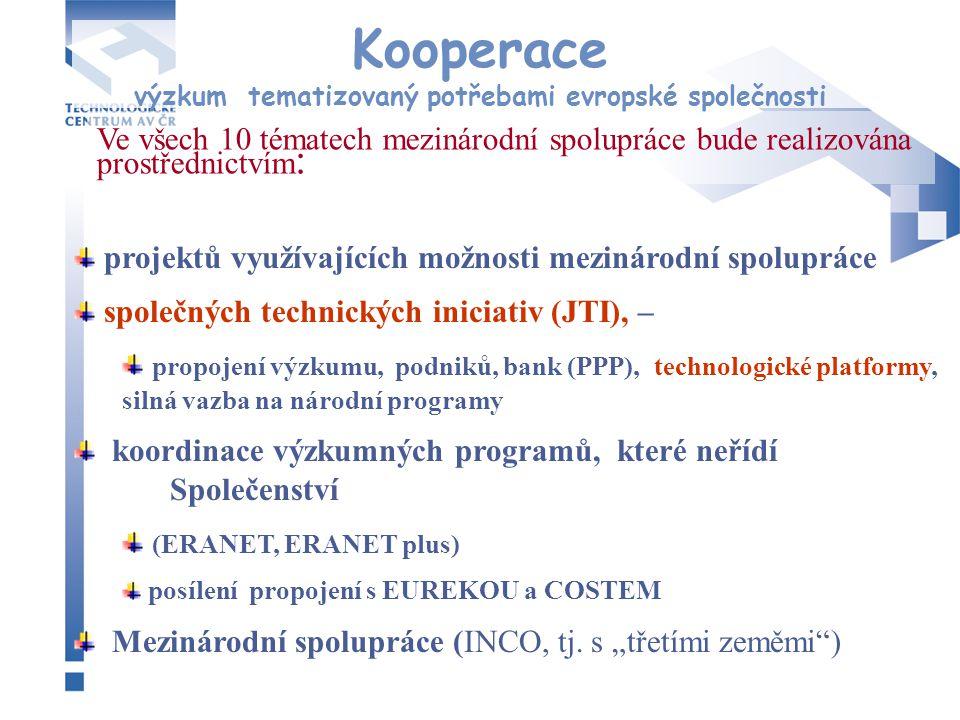 Kooperace výzkum tematizovaný potřebami evropské společnosti projektů využívajících možnosti mezinárodní spolupráce společných technických iniciativ (