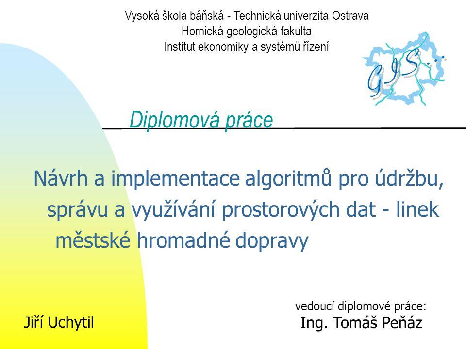 Úkoly práce Současný stav Datové zdroje Datový model Vývojové prostředí Algoritmus Výsledná aplikace Vykreslení trasy Schématické vykreslení  Přímé propojení vybraných zastávek