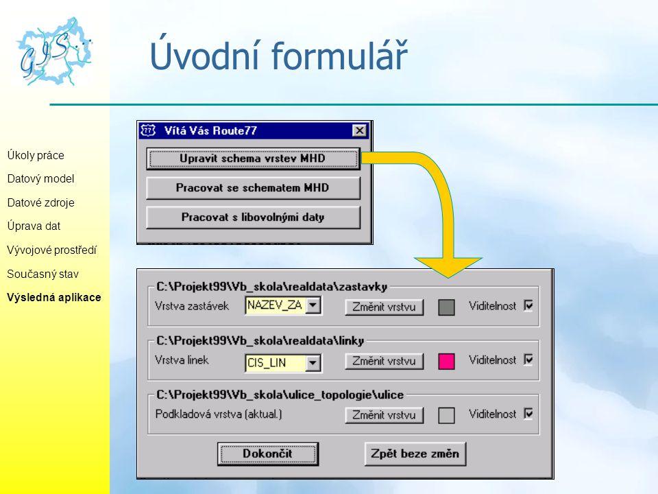Úvodní formulář Úkoly práce Datový model Datové zdroje Úprava dat Vývojové prostředí Současný stav Výsledná aplikace