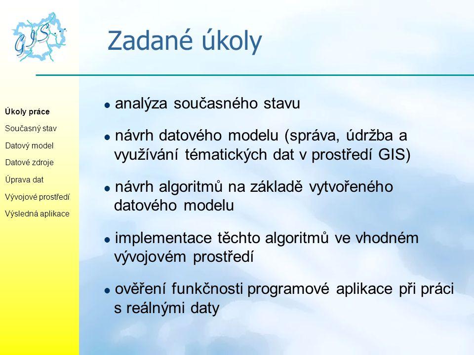 Zadané úkoly analýza současného stavu návrh datového modelu (správa, údržba a využívání tématických dat v prostředí GIS) návrh algoritmů na základě vy