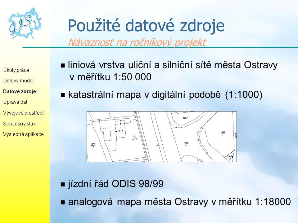 Příprava datových podkladů Úkoly práce Datový model Datové zdroje Úprava dat Vývojové prostředí Současný stav Výsledná aplikace  aktualizace vrstvy ulic a doplnění kolejišť (podle mapy katastrální)  určení příslušnosti liniových elementů vrstvy ulic k jednotlivým linkám  vygenerování tras jednotlivých linek MHD (ARC/INFO) a převod do formátu ESRI Shapefile  lokalizace zastávek MHD (vznik vrstvy zastávek)