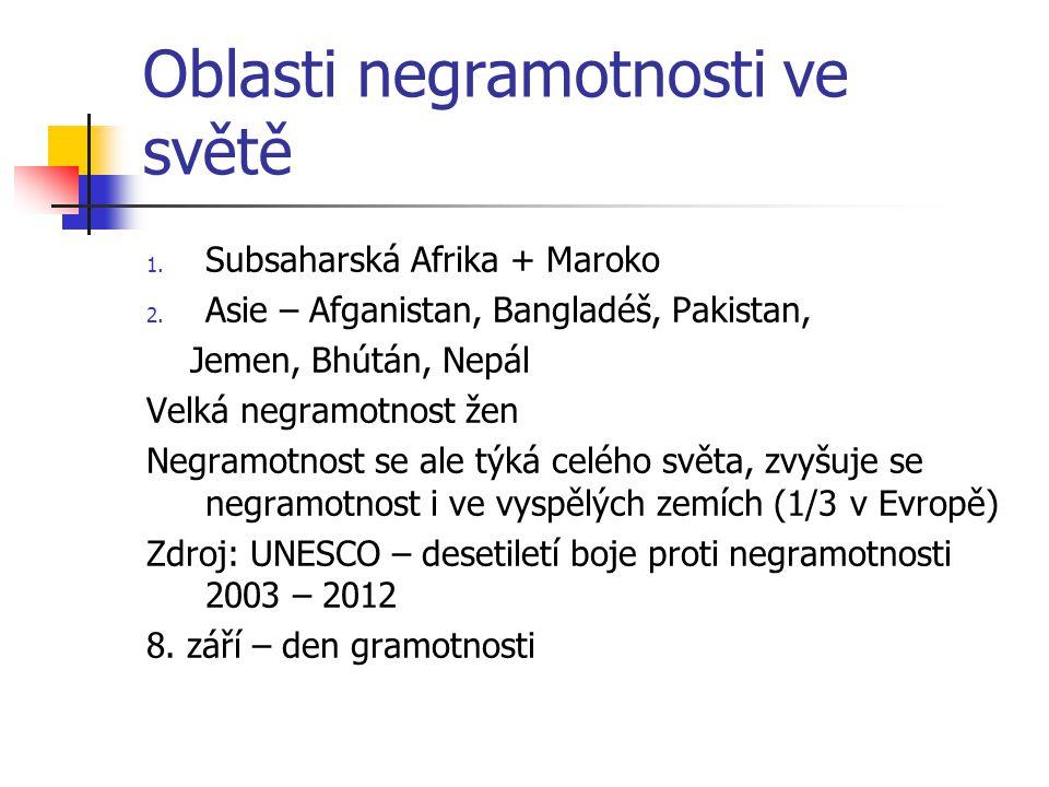 Oblasti negramotnosti ve světě 1.Subsaharská Afrika + Maroko 2.