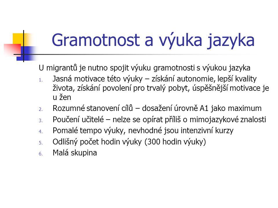 Gramotnost a výuka jazyka U migrantů je nutno spojit výuku gramotnosti s výukou jazyka 1.