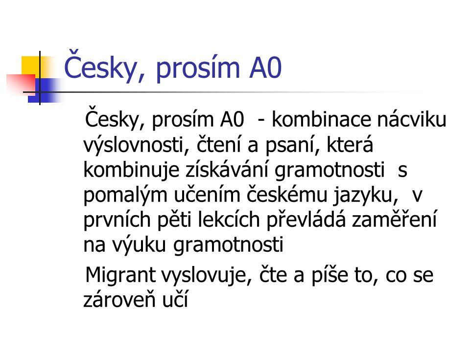 Česky, prosím A0 Česky, prosím A0 - kombinace nácviku výslovnosti, čtení a psaní, která kombinuje získávání gramotnosti s pomalým učením českému jazyku, v prvních pěti lekcích převládá zaměření na výuku gramotnosti Migrant vyslovuje, čte a píše to, co se zároveň učí