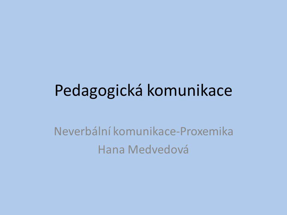 Pedagogická komunikace Neverbální komunikace-Proxemika Hana Medvedová